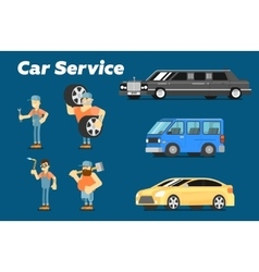 Car repair service concept banner vector image vector image