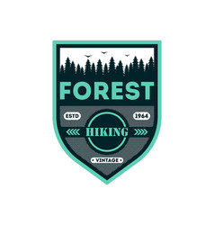 forest hiking vintage isolated badge vector image vector image