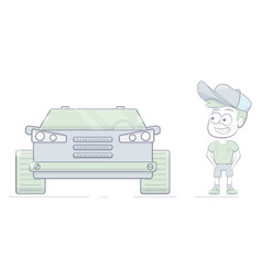 funny boy and a big car cartoon character vector image