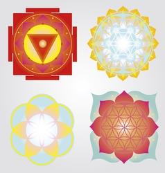 Mandalas and Yantra set vector image