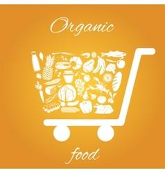 Organic food cart vector image
