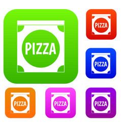 pizza box cover set color collection vector image vector image