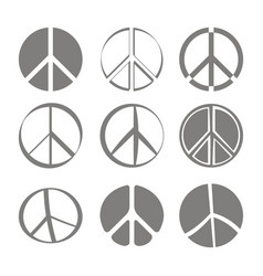 set of monochrome icons with peace symbols vector image vector image