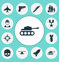warfare icons set collection of fugitive rocket vector image vector image
