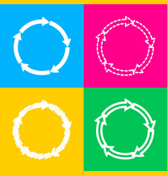 cirkular arrows sign four styles of icon on four vector image