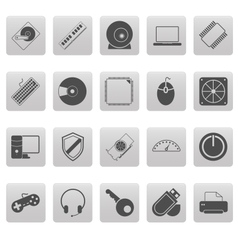 Computer icons on gray squares vector image