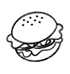 Contour fast food hamburger meal vector