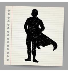 Doodle superhero silhouette vector image