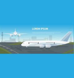 colorful horizontal banner with airplanes parked vector image vector image