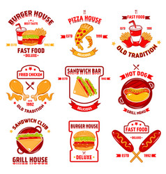fast food logotype set vector image vector image