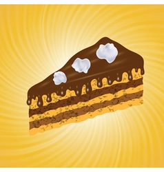 piece of chocolate cake vector image vector image
