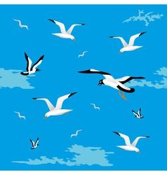 Sea gulls seamless vector image