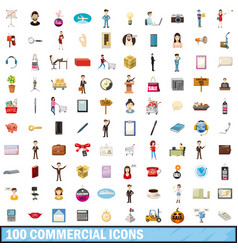 100 commercial icons set cartoon style vector