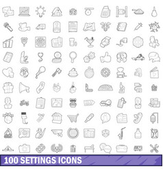 100 settings icons set outline style vector