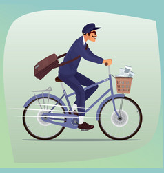 adult funny postman rides on bicycle vector image