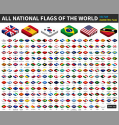 All national flags of the world isometric top vector