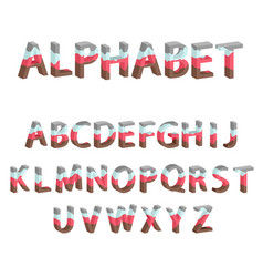 Alphabet with multi-colored layers vector