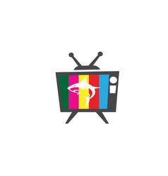 Angry blue shark fish logo design i an old tv vector
