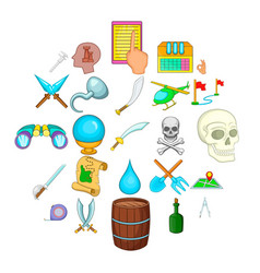 Archeology icons set cartoon style vector