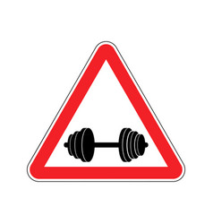 Attention sport sign warning of danger dumbbell vector