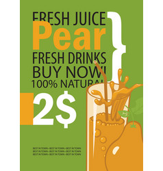 banner with pear and a glass juice vector image