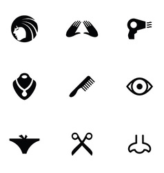 beauty 9 icons set vector image