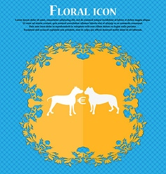 Betting on dog fighting icon Floral flat design on vector
