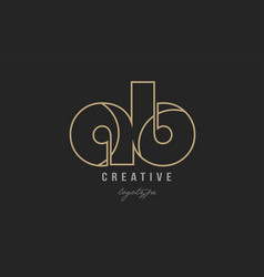 Black and yellow gold alphabet letter ab a b logo vector