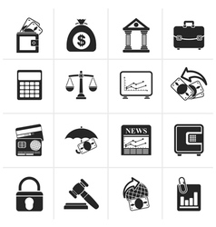Black Business finance and bank icons vector image