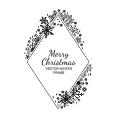 black rhombus snowflake frame white background vector image vector image