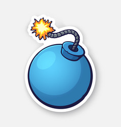 Blue ball-shaped bomb with a burning fuse rope vector
