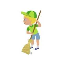 Boy Sweeping With Broom vector image
