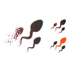 Broken pixel halftone sperm icon vector
