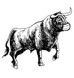 Bull with mask on white background vector