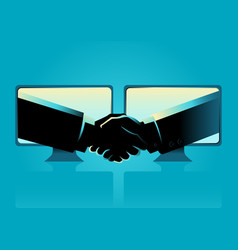 business agreement through internet vector image