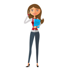 business blond woman talking the phone flat vector image