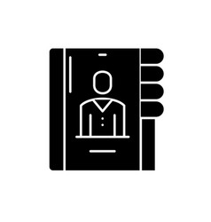 Business contacts black icon sign on vector