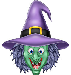 Cartoon witch head isolated on white background vector