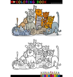 Cats cartoon for coloring book vector