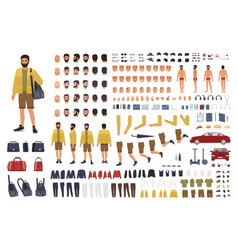 caucasian man constructor or diy kit collection vector image