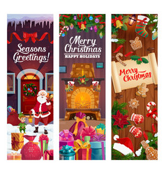 christmas winter holiday decorations and gifts vector image
