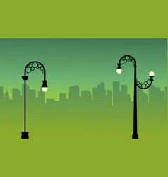 City background with street lamp landscape vector
