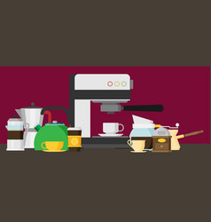 coffee icons flat design set vector image