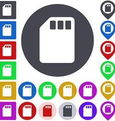 Color memory card icon set vector