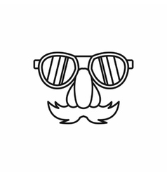 Comedy fake nose mustache eyebrows glasses icon vector image