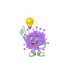 Coronavirus influenza mascot with have a idea cute vector