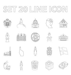 Country denmark outline icons in set collection vector