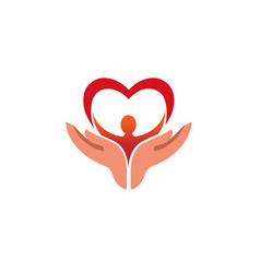 Creative hands holding human body with heart logo vector