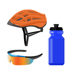 cycling sportswear helmet plastic drinking bottle vector image
