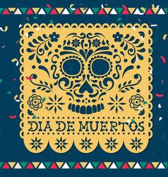 day dead papercut mexican skull card vector image